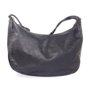 Cole Haan Leather Hobo Bag Purse Dark Brown Black